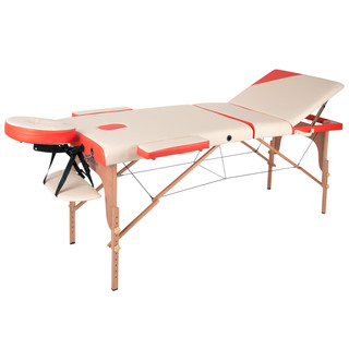 Massage Table inSPORTline Japane 3-Piece Wooden - white-orange
