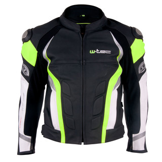 Men's Leather Moto Jacket W-TEC Velocity - Black-Yellow