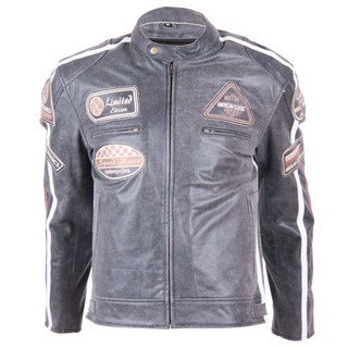 Leather Moto Jacket BOS 2058 Vintage Grey - Grey