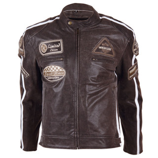 Leather Moto Jacket BOS 2058 Brown - Brown