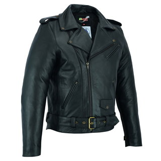 Leather Motorcycle Jacket BSTARD BSM 7830 - Black