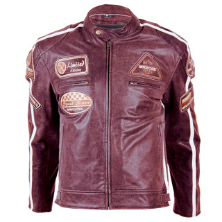 Leather Moto Jacket BOS 2058 Mahagon - Mahogany