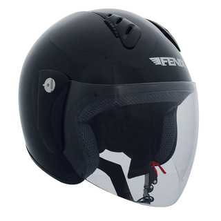 Open face helmet with plexiglass Fenix HY-818 - Black Glossy