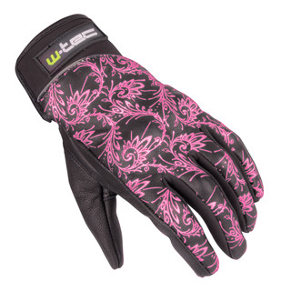 Women's Leather Moto Gloves W-TEC NF-4208 - Black with Pink Graphics
