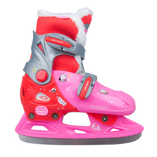 Girls' Ice Skates WORKER Kelly Pro Girl – with Fur - Pink-Red