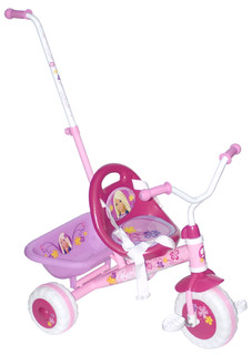 Child Barbie triscooter with push bar