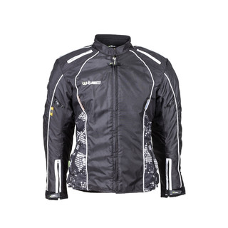 Women's Moto Jacket W-TEC NF-2406 - Black-White with Graphics