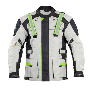 Men's Long Moto Jacket W-TEC NF-2215 - Beige-Black-Green