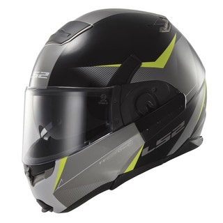 Tilting Moto Helmet LS2 Convert Hawk - Black-Yellow