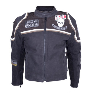 Leather Moto Jacket Sodager Micky Rourke - Black and Graphics