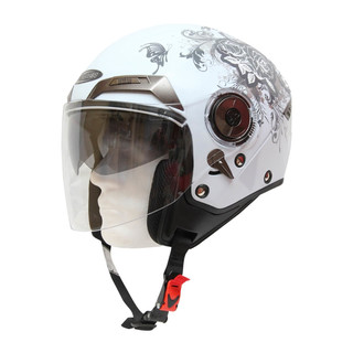 Motorcycle helmet Cyber U 44 - White with Graphics