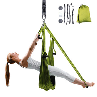 Aerial Aero Yoga Hammock inSPORTline Hemmok Green with Mounts and Straps