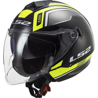 Motorcycle Helmet LS2 OF573 Twister II Flix - Black H-V Yellow