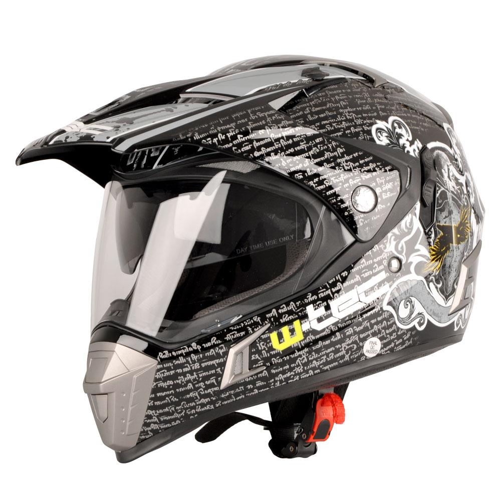 Motocross Helmet W Tec Nk 311 Insportline Visor Clear Black Grey